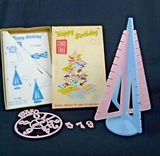 Davis Products Plastic Card Tree Birthday Christmas Light Pink And Blue MCM Box