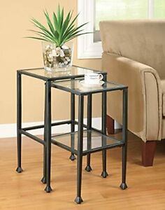 Glass And Metal Nesting Tables Black 2 Piece