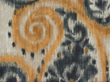 Drapery Upholstery Fabric Indoor / Outdoor Lg. Scale Paisley Ikat -  Gray / Gold