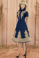 ELENPRIV blue denim dress with beige elements for Fashion Royalty FR2 dolls