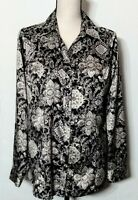 Croft & Barrow Women's LS Satin Black/Gray Floral Button-Up Blouse Top Size M