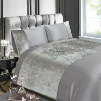 CRUSHED VELVET SILVER DOUBLE DUVET COVER AND PILLOWCASE SET ADULT BEDDING NEW