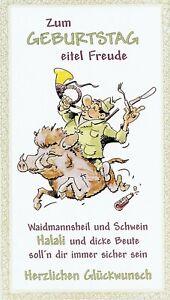 Zum Geburtstag Waidmannsheil Keiler Geburtstagskarte Jäger Jagd mit Umschlag