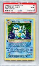 Pokemon Card 1st Edition Shadowless Blastoise Base Set 2/102, PSA 9 Mint