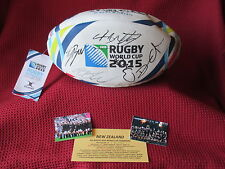 NEW ZEALAND - ALL BLACKS 24 SIGNED WORLD CUP RUGBY 2015 WRC FOOTBALL-PHOTO PROOF