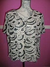 BNWOT NEW JACQUES VERT BLOUSE TOP 18 look PERFECT brown cream v neck cap sleeves