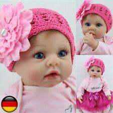 DHL 55 CM Reborn Baby Puppe Lebensecht Handgefertigt Weich Silikon-Vinyl Mädchen