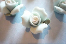 17mm Blue Ceramic Rose Flower Cameos Flat Back Cabochons White Center - Qty 6