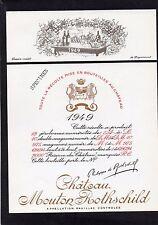 PAUILLAC 1EGCC ETIQUETTE CHATEAU MOUTON ROTHSCHILD 1949 73 CL DECOREE §06/02/17§