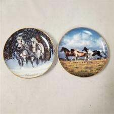 "= Lot of 2 Danbury Mint Horses For All Seasons 6"" Plates November August A5932"