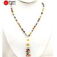 4-5mm Multicolor Baroque Natural Pearl Tassel Pendant & Necklace for Women 20''