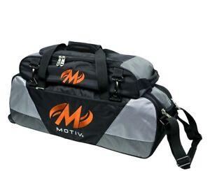 Motiv 3 Ball Tote Bowling Bag with Tow Wheels & Shoe Pocket Color Black/Orange