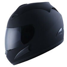 NEW Motorcycle Street Bike Adult Full Face Helmet Matte Matt Black Size S M L XL