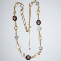 LIA SOPHIA JEWELRY MATTE GOLD TONE LONG NECKLACE MOTHER OF PEARL BEADED