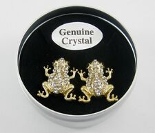 New Pair of Crystal Frog Stud Earrings in Metal Gift Box with $24.99 Tags #E1171