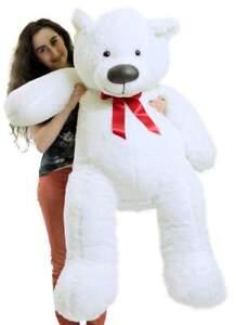 Big Plush Giant 5 Foot Teddy Bear Soft White Stuffed Animal Made in the USA