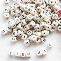 100pcs Wooden Alphabet Beads Letter Bead For Toys Bracelet Jewelry DIY Accessory