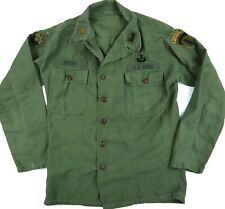 VINTAGE 60s NAMED ARMY RANGER MAJOR sateen shirt/jacket 9th INF JUMP WINGS