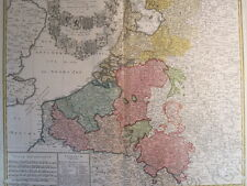 BENELUX NIEDERLANDE BELGIEN LUXEMBURG KOL KUPFERSTICH KARTE HOMANN 1748 #D975S