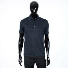 LORO PIANA 550$ Classic Polo Shirt In Navy Blue Linen Jersey