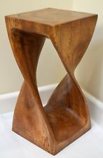 Small Twist Table/Hand Carved Solid Wood/Lamp Table/Plant Stand/Waxed Finish
