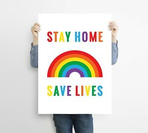 Stay At Home Save Lives Wall Print Poster Support Key Workers Display Sign