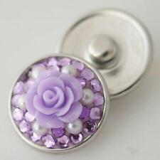 PURPLE FLOWER SPARKLY SNAP FITS GINGER SNAPS 18mm MAGNOLIA & VINE Interchang