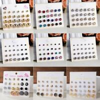 6/12 Pairs Women Fashion Crystal Zircon Ear Earrings Stud Set Card Jewelry Gift