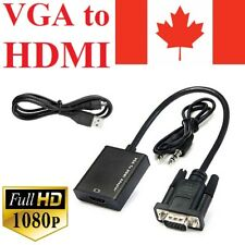 VGA To HDMI Output USB Audio Video Converter Adapter Cable HDTV UP CA 1080P