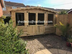 SUMMERHOUSE GARDEN OFFICE APEX T&G HEAVY DUTY SHED SUMMER HOUSE MAN CAVE GYM
