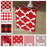 Red Table Runner Summer Home Decor Table Centerpiece Dining Table Linens