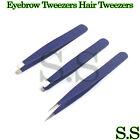 Blue Eyebrow Tweezers Hair Tweezers Slanted Straight Pointy Set Of 3