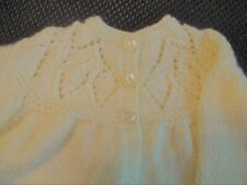 Baby Jacket Hand Knitted   0-6 months  Cream. Off White
