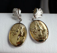 Rare Russian Earrings Silver 925 Milda's face Vintage Soviet USSR Gold Plated