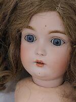 """German/Kestner Bisque 20"""" Doll Fully Dressed Blue Eyed Brunette VTG/Antique"""