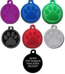 Personalized Laser Engraved Paw Pet Tag Free Engraving