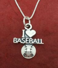 Baseball Necklace solid Sterling silver 925 jewellery jewelry
