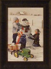 FRESH SNOW by Charles Freitag FRAMED PRINT 17x23 Snowman Children Pedal Car