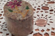 Gorgeous Soapstone Brown and Floral Jewelry Trinket Box - Oval Shaped