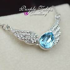 18CT White Gold Plated Angel Wing Pendant Necklace Made With Swarovski Crysyals