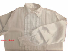 Mens Satin Shirt & Ruffles White Costume for 70s Fancy Dress Outfit Adult