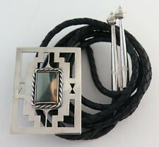 Quality Vintage Handmade Large Sterling Silver & Jasper Bolo Tie