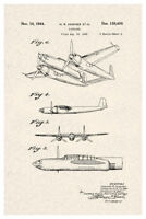 Howard Hughes Airplane Official Patent Diagram Poster 12x18 inch