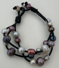 beaded Multi strand bracelet Leather cord and knotted pearl