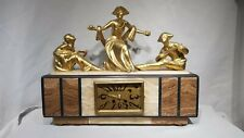 Beautiful Rare Art Deco Marble and Gilt metal Figural mantle Clock Case