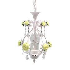 White With Yellow Roses And Crystal Accents 3 Light Chandelier/Pendant