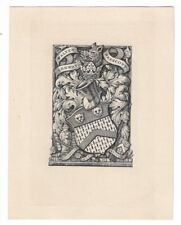 CHARLES WILLIAM SHERBORN: heraldisches Exlibris für Walter Conway Prescott
