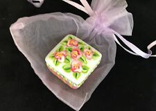 """Collectable Tiny Porcelain Trinket Box 1 3/8""""   Hand-painted."""