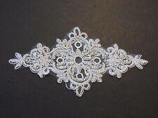 off white bridal wedding floral sequins lace applique / sequined lace motif