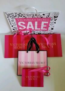 Victorias Secret Size S M L Christmas Gift Bags Lot of 5 Pink Stripe
